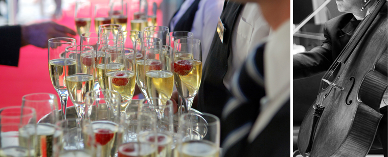 champagne glasses at gala fundraising event