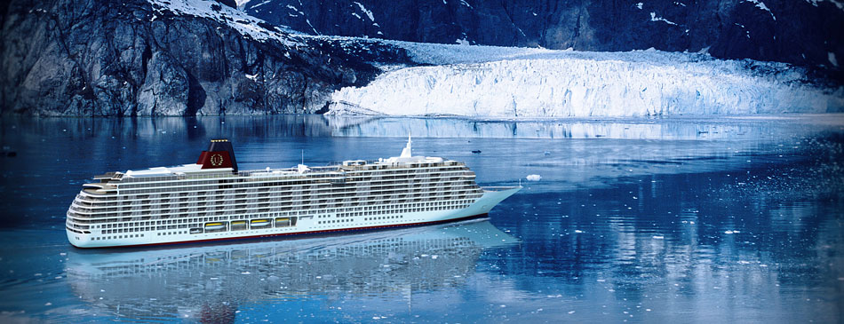 Exterior shot of ship as it passes a snow-capped glacial scene